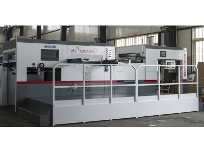 AUTOMATIC DIECUTTING & CREASING MACHINE (flat bed) WITH STRIPPING STATION, mod. XLMYQ-1500D.